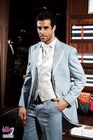 Latest Coat Pant Designs Light Blue Trim Men Suit Slim Fit Skinny Tuxedo Italian Custom 3 Piece Groom Blazer Terno Masculino 7V