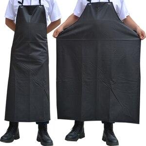 Delantales impermeables a prueba de aceite, delantales de cocina sin mangas para hombres, delantales de cocina, Hotel, Adulto, Chef negro de PVC, delantal largo para mujeres