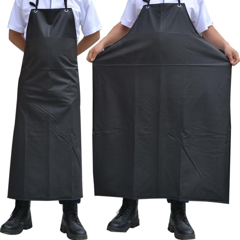 Baru Minyak tahan Air Tahan Air Celemek Tanpa Lengan Memasak Pria Celemek Dapur Restoran Hotel Dewasa Chef Hitam PVC Apron Untuk Wanita