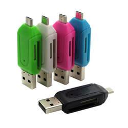 5 цветов 2 в 1 USB OTG кардридер Универсальный Micro USB OTG TF/SD кардридер телефон удлинитель-переходник Micro USB OTG адаптер