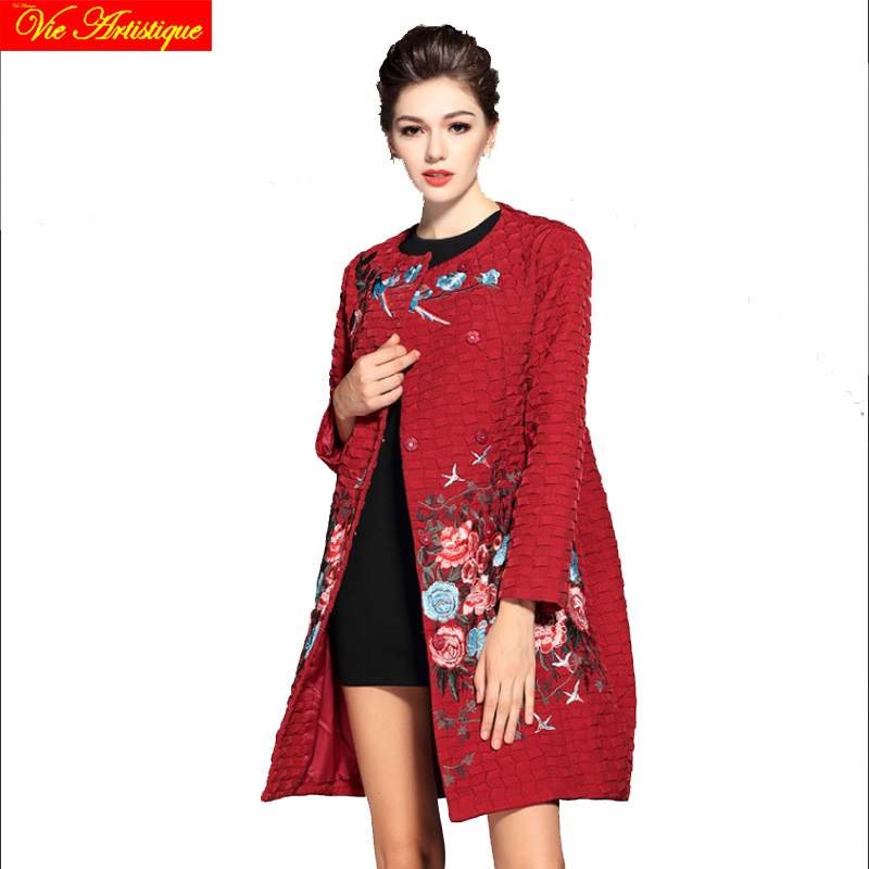 Chinese floral winter jacket woman parka fem me hiver female long coats jackets big size ...