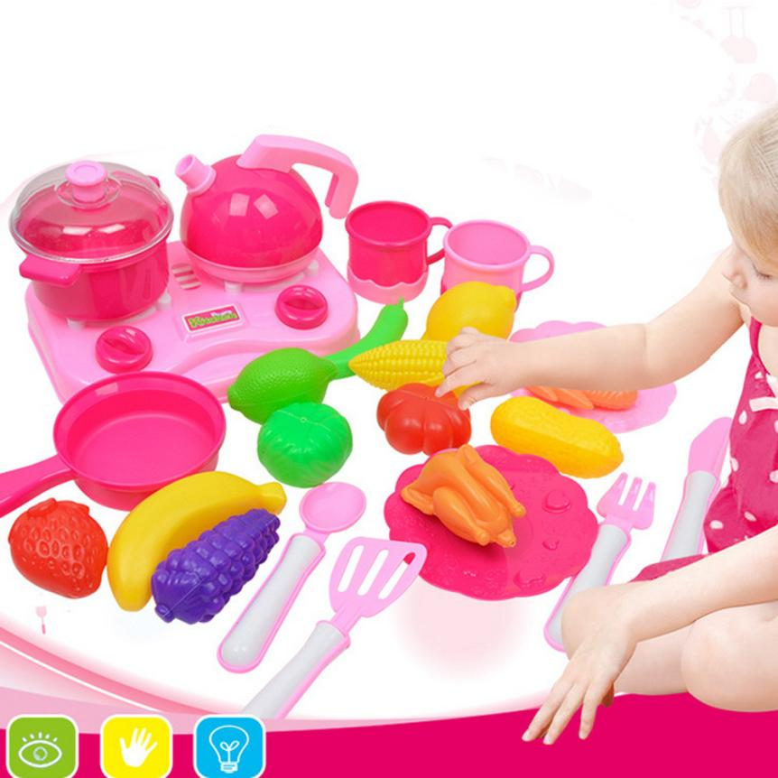 Kids Pretend Role Play Kitchen Fruit Vegetable Food Toy Cutting Set Gift Education Toy Drop Shipping Y1212