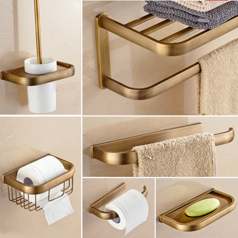 Bathroom Towel Rack Kit: Antique Retro Brass Bathroom Hardware Set 6 Item (towel