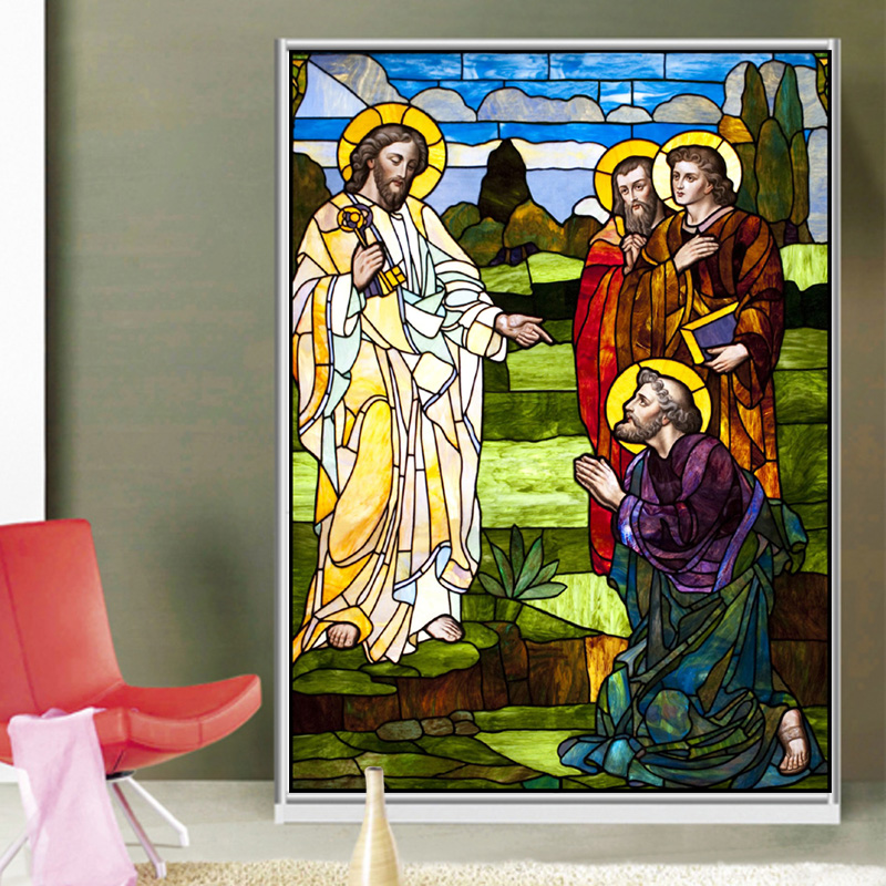 Home Decor Methodical Customized Decorative Window Glass Film Self Adhesive/static Cling Frosted Stained Continental Stickes Jesus Christ 127 Unequal In Performance Decorative Films