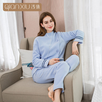 QIANXIU winter berber Fleece pyjamas women Oblique open cardigan turtleneck home clothing female Splicing sleeve pijama woman