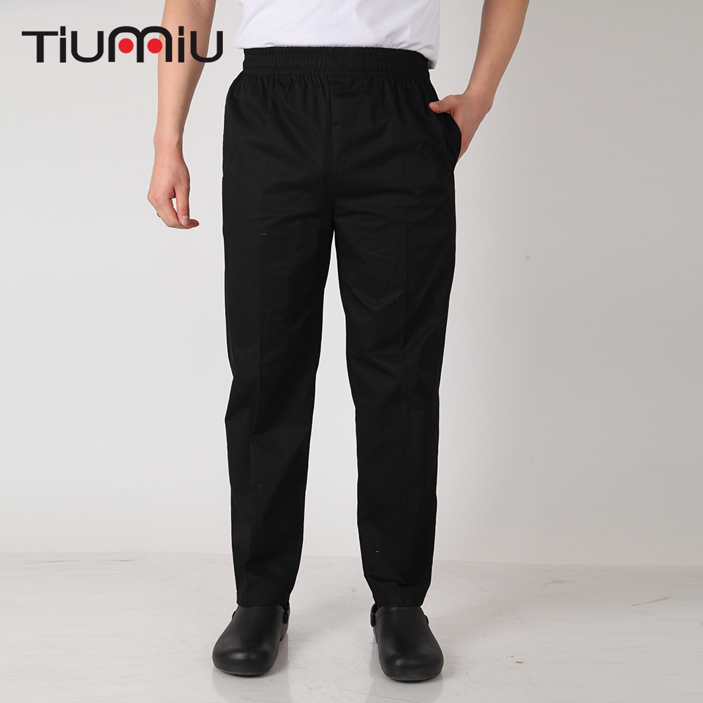 Chef Waiter Black Pants Elastic Work Wear Trousers Kitchen Food Service Restaurant Hotel Catering Bakery Barbershop Work Uniform