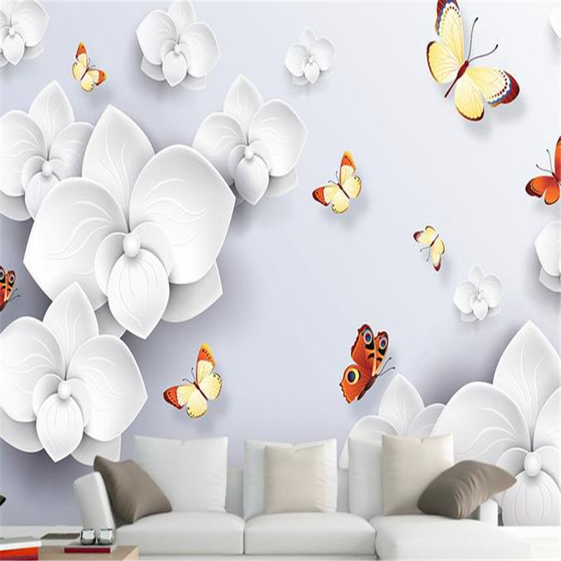 3D Custom Photo Wallpapers White Flower Murals Luxurious Floral Painting Wall Papers for Walls 3D Living Room Bedroom Home Decor custom photo 3d wall murals wallpaper mountain waterfalls water decor painting picture wallpapers for walls 3 d living room