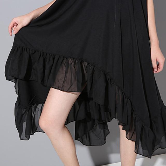 [soonyour]  2017 New spring and summer Fashion Irregular Ruffles Chiffon black thin Dress Women Beauty Clothing Black dresses