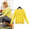 5xl plus big size sweater women spring autumn winter 2016 fashion feminina thin blue yellow sweater female A1610