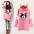 Autumn Winter Cartoon Micky Mouse Hooded Hoodies for Girls Women Kawaii Cute Pink Loose Long Pullovers Rabbit Hoodie Sweatshirt