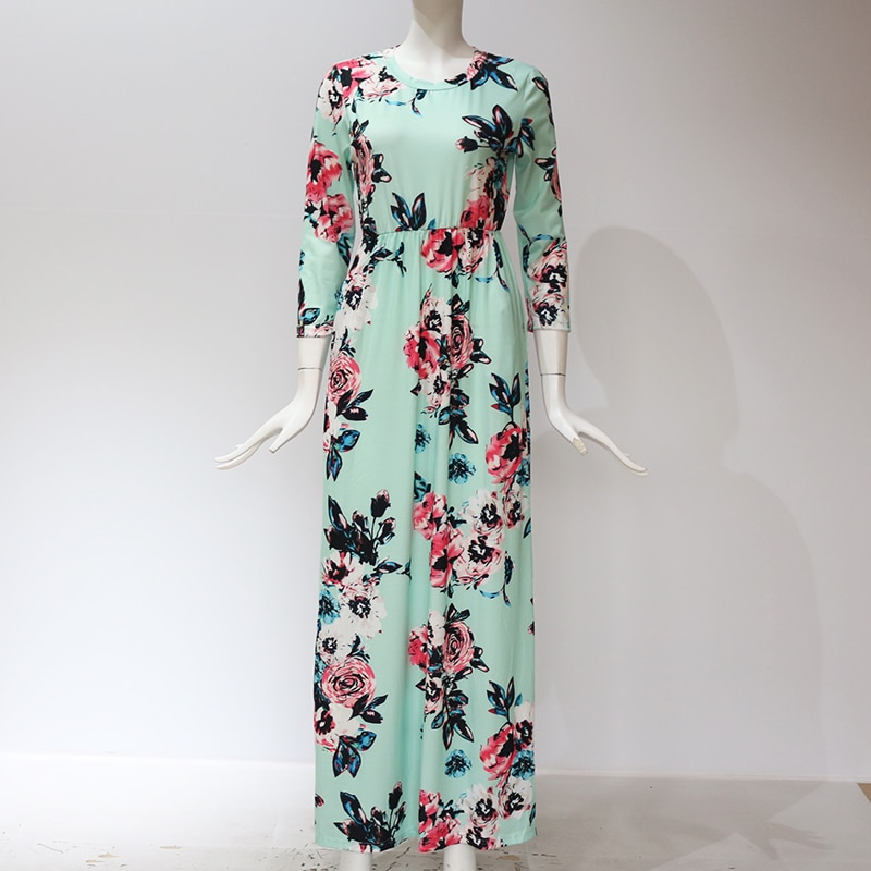 Green color of GVN Rocks Floral Boho Summer Maxi Dress