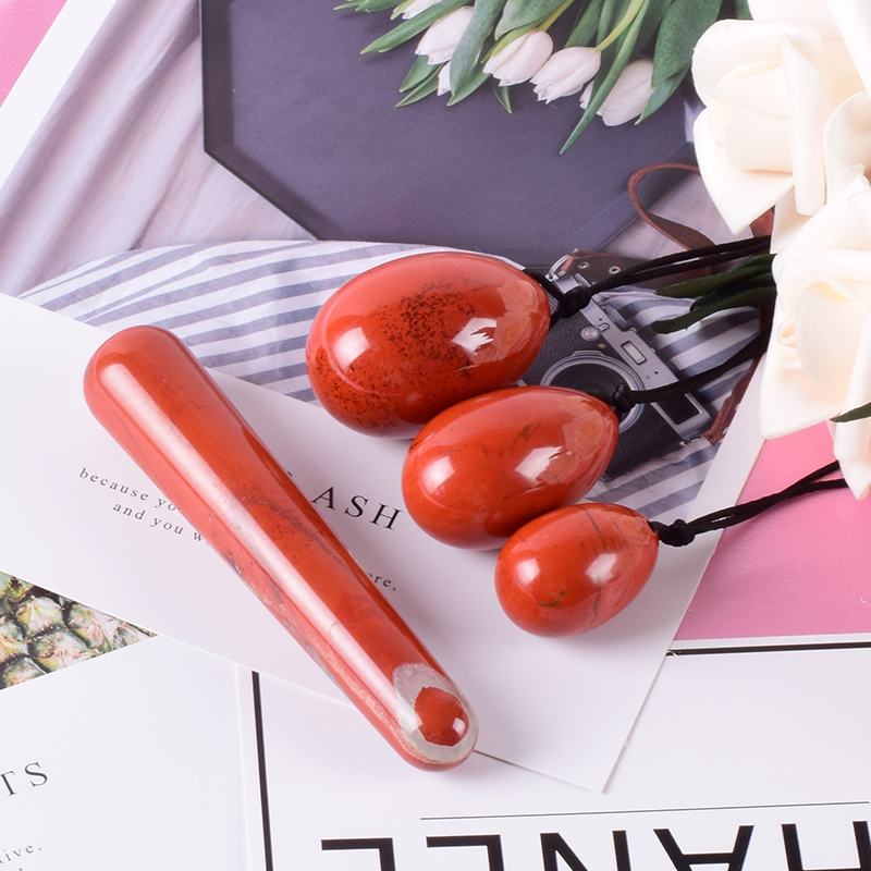Yoni Egg Natural Jasper Egg Set Drill Red Stone Crystal Wand Mineral Ball Kegel Exercise Pelvic Floor Muscle Vagina Woman Care