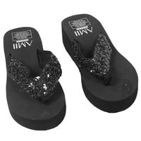 New Ladies Womens Girls Sequin Flatform Wedge Flip Flops Shoes Beach Sandals Comfortable black