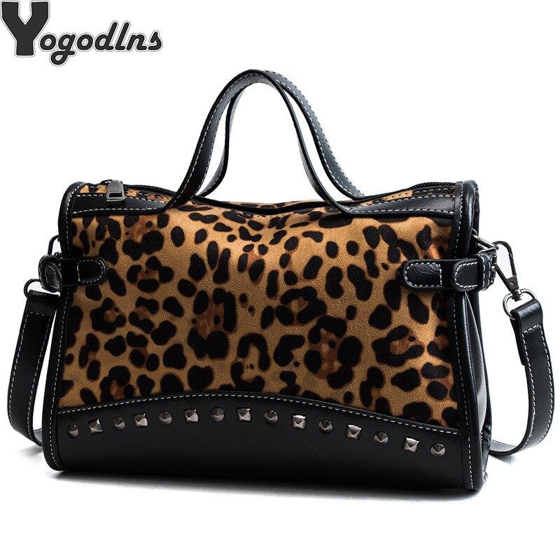 NEUE Niet Kette Taschen Faux Leder Wildleder Cross Body Taschen Für Frauen Samt große Hand Tasche Leopard Print Schulter Handtaschen