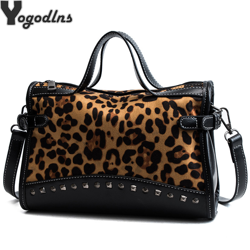 NEW Rivet Chain Bags Faux Leather Suede Crossbody Bags For Women Velvet Large Hand Bag Leopard Print Shoulder Handbags