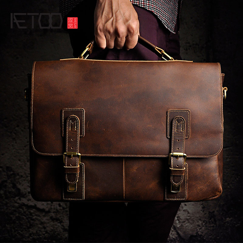 AETOO Crazy horse leather leather original single retro men 15 inch business portable computer bag aetoo crazy horse leather leather classic classic men s 14 inch business portable computer bag