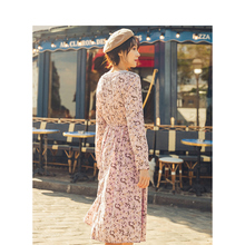 INMAN 2019 Autumn New Arrival Lace V-neck Elegant Literary Retro Romantic Print Slim Women Dress