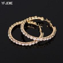 YFJEWE новые дизайнерские Кристальные стразы серьги женские золотые серебряные серьги-кольца модные ювелирные изделия серьги для женщин# E029