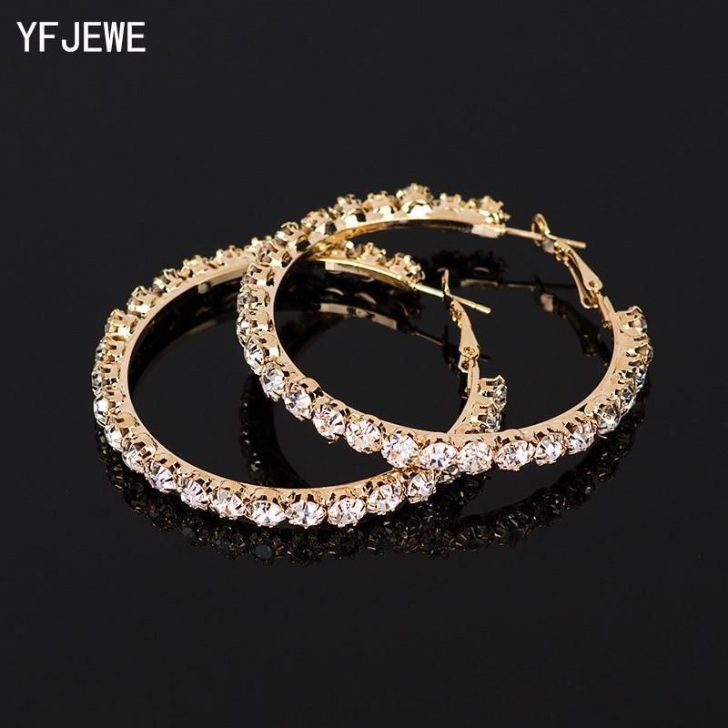 YFJEWE 2018 New Designer Crystal Rhinestone Earrings Women Gold Sliver Hoop Earrings Fashion Jewelry Earrings For Women #E029
