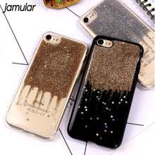 JAMULAR Night Star Soft Phone Case For iPhone 6 6s 7 Plus Quick Sand Silicon Cover For iPhone X 8 7 Plus Phone Shell Capa