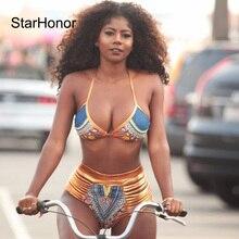 StarHonor Brand Hot Woman Print Two-Pieces Bath Suits Bikini Set Sexy Geometric Swimwear Swimsuit Gold High Waist Swimming Suit