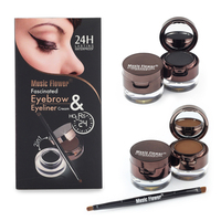Music Flower Brand Brown Black Gel Eyeliner Eyebrow Powder Makeup Set Kit Waterproof Long Lasting Eye