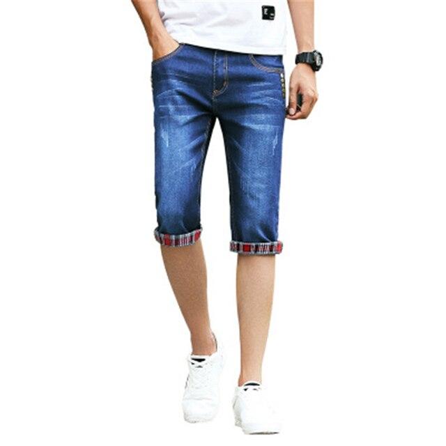 72cb1ded0a557 2018 Summer Men s Jeans Shorts Teen Men Blue Horse Pants Thin Denim Shorts  Male