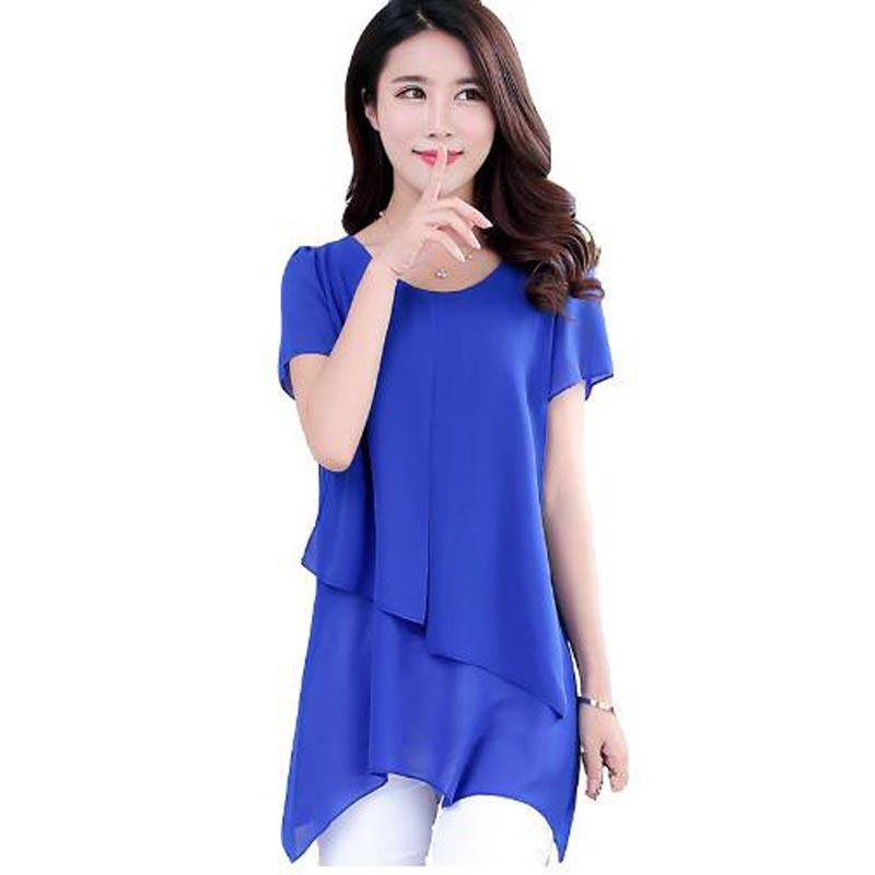 Women Blouses Summer 2016 Korean Fashion Short Sleeve Vintage Chiffon Blouse Plus Size Women Clothing Ladies Tops Blusa Feminina