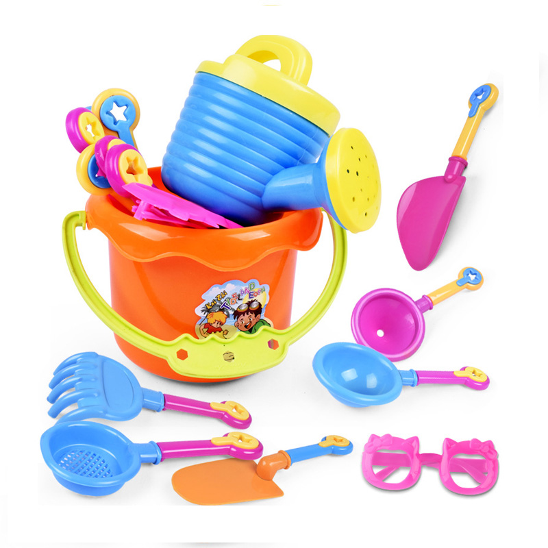 9 Pieces Kids Beach Toys Sandbox Toys Set Summer Toy For Kids Sand Play Toys With Kettle