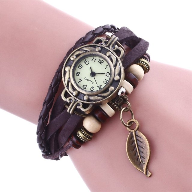 1Pc Watch Leaf Bracelet Watch Girl Women Relojes Mujer Quartz Movement Wrist Wat