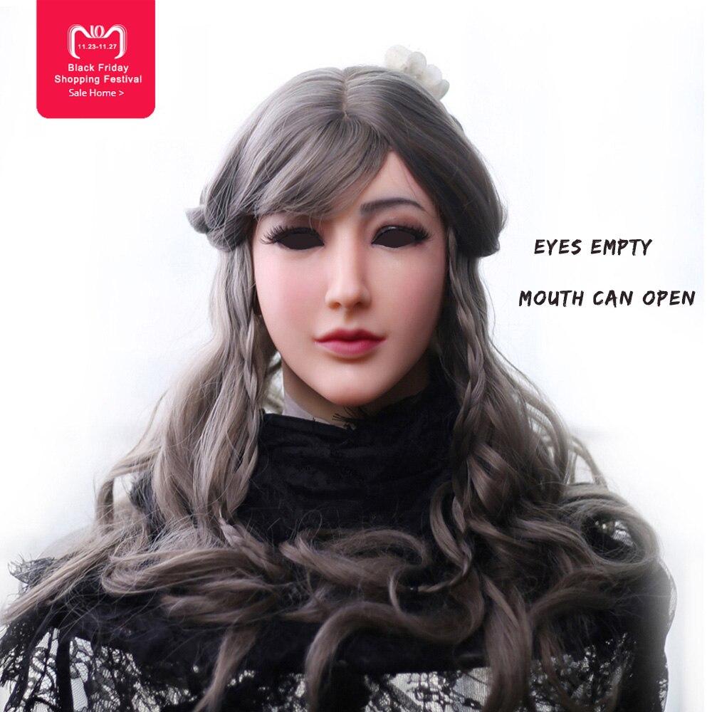EYUNG masque en silicone femme Déesse Alice femelle visage masque avec la lumière maquillage pour crossdresser Mascarade Cacher les cicatrices du visage