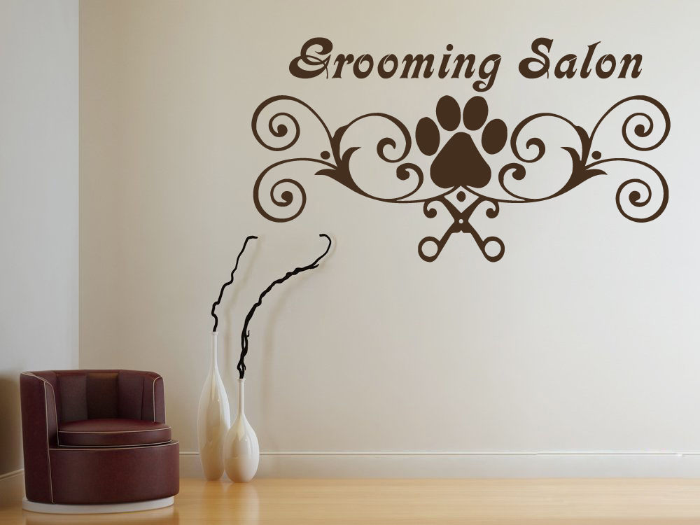 Grooming Salon Vinyl Wall Decal Pet Salon Paw Scissors Grooming Salon Mural Art Wall Sticker Pet Shop Decorative Decoration
