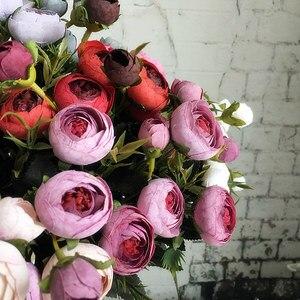 Image 3 - 9 ראשי מיני משי מלאכותי פרחים אדמונית פלורס פלר artificielles קמליה עבור בית חג המולד קישוט מזויף פרח זר