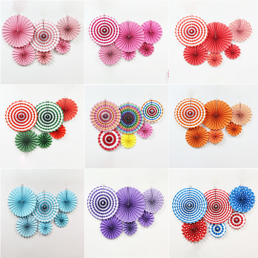 6Pcs//Set Mixed Size Set Hanging Paper Fan Birthday Wedding Party Decoration