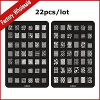 22pcs XL Stainless Steel Nail Stamp Stamping Template,22Designs DIY Polish Print Plates Mould Stencil Nail Art Tools
