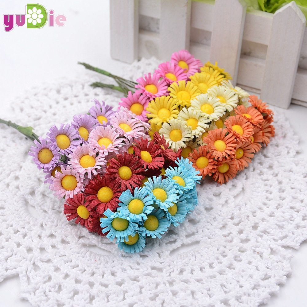 Sales 10pcs Silk Mini Artificial Daisy Flower Bouquet For Wedding