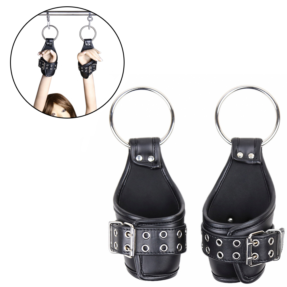 Sex Leather Ankle Wrist Suspension Cuffs Restraint BDSM Bondage Strap Keep Suspended Hanging Handcuffs For Adult Product