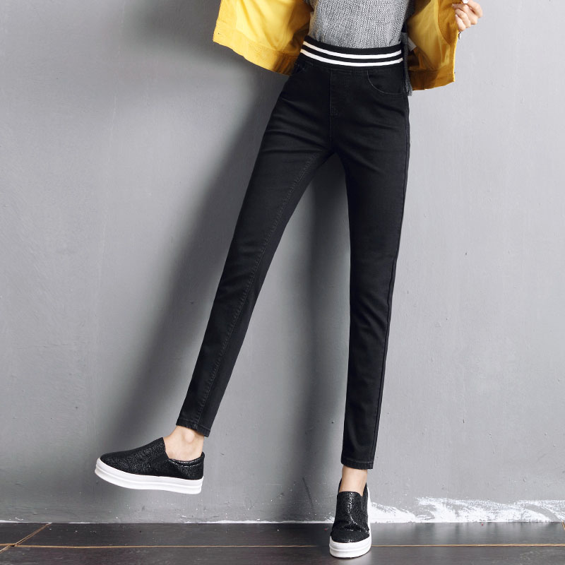 Casual elastic waist long jeans women 2017 winter autumn all-match trousers female skinny pencil pants denim stretch solid black the explosion of the classic all match solid colored body hip high elastic denim pants feet female winter bag mail