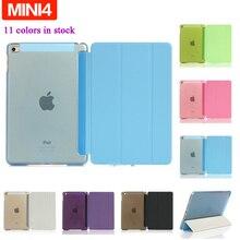 Para ipad mini 4 Caso Ultra Delgado Folio Funda protectora Para Mini iPad 4 Stand 3 Plegable de la Caja con la Función Inteligente de Pantalla + Flim