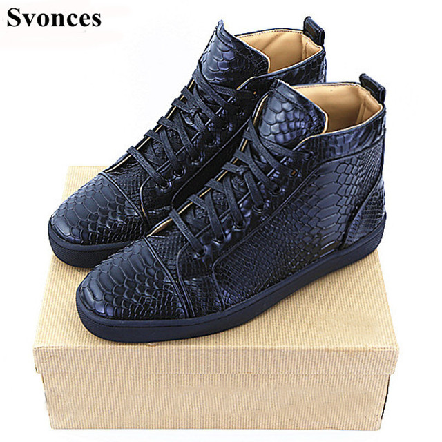 Tenis Masculino Esportivo Svonces Luxury Brand Spring Autumn Flat Shoes Mens  Black Snake High Top Casual Red Shoes Men Shoes 5f7a07e96278