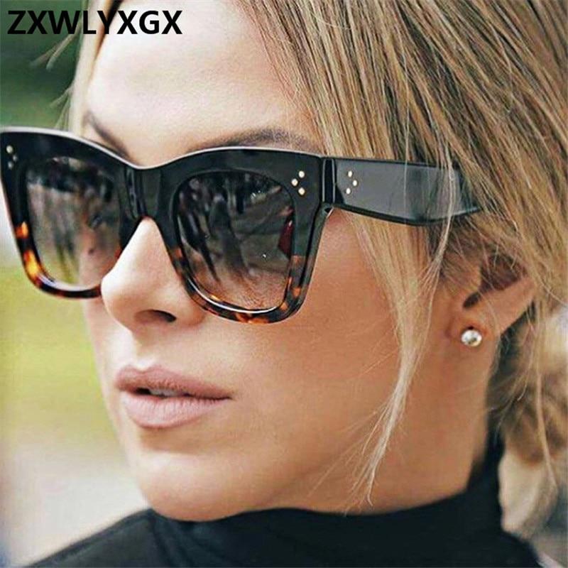 Retro Gradient Sunglasses Women Brand Designer Frame Lens Classic Rivet Shades Female Male Fashion Eyewear Oculos De Sol UV400