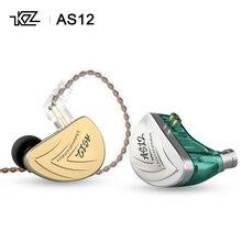 KZ auriculares internos AS12 HiFi con controlador de armadura equilibrada, auriculares IEM con cable desmontable de 2 pines de 0,75mm, con cancelación de ruido