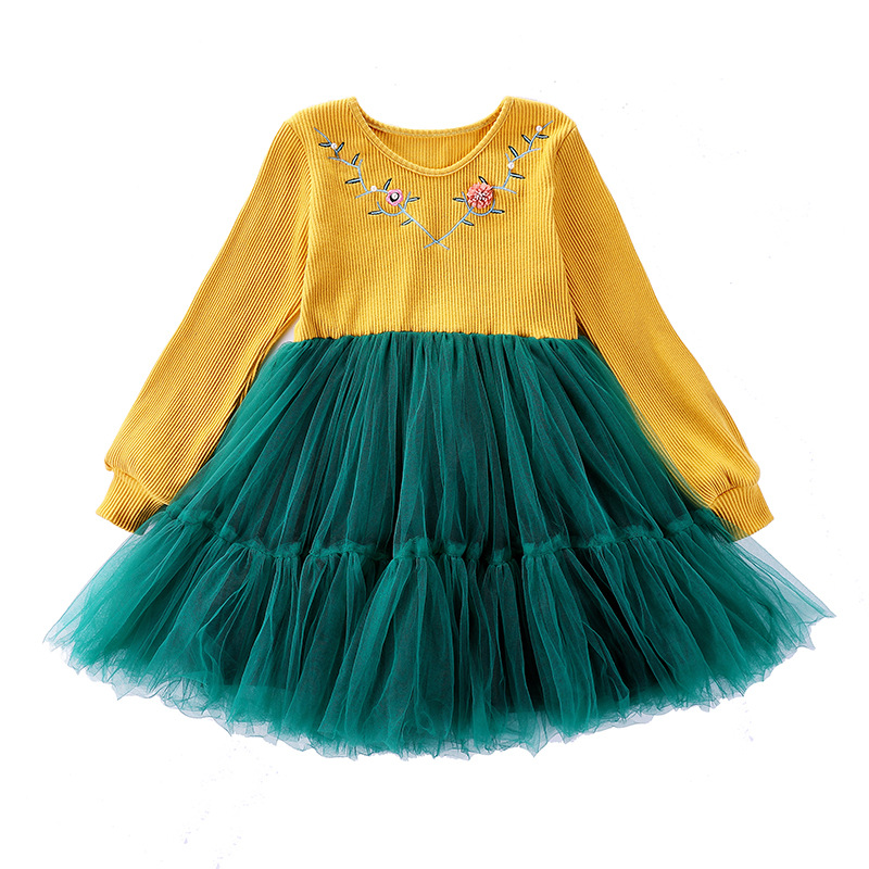 4-12Yrs Kids Girls Knitted Long Sleeve Embroidery Tutu Dress Autumn Winter Casual Cotton Children Dresses Girl Party Dress CA130 autumn winter kids girls knitted dress with bows long sleeve kids princess dresses for girls cotton sweater dress