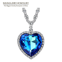 Neoglory Azul Grande Titánico Cristalino Del Corazón Amor Maxi Boho Gargantilla Collares y Colgantes para Las Mujeres de Joyería de Moda 2016 He1