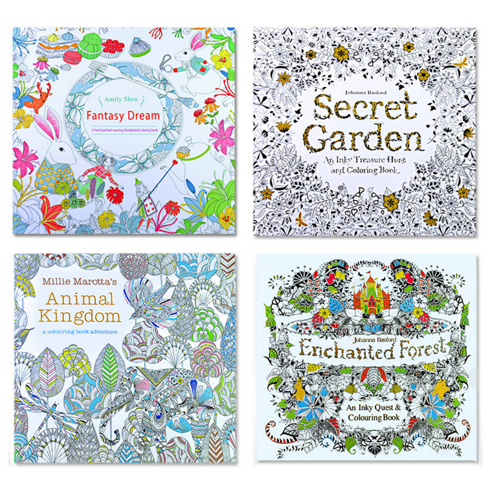 24 Pages Secret Garden Relieve Stress For Children Adult Funny Painting Drawing Book Kill Time Flower DIY Coloring Book