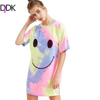 DIDK Summer Dresses Casual T Shirt Dress Womens Multicolor Pastel Tie Dye Print Short Sleeve Round