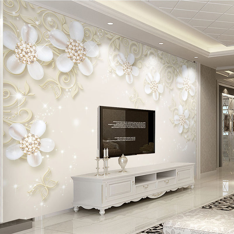 Us 8 77 53 Off European Style 3d Relief Flower Mural Wallpaper High Quality Interior Decoration Wall Covering Living Room Tv Sofa 3d Wall Paper In