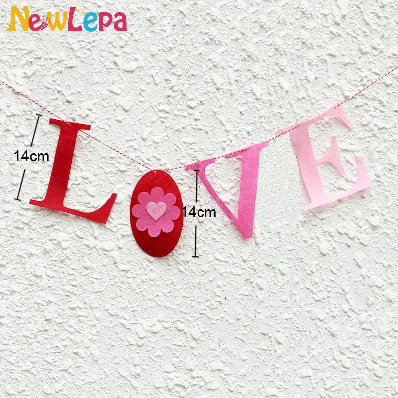 Paks mittekootud kangast vilt LOVE süda Kohanda bänneri Garlandi - Pühad ja peod - Foto 2