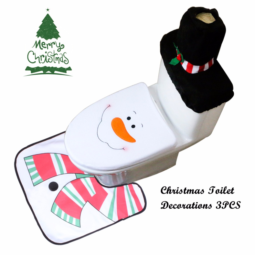 Set Of 3 Snowman Toilet Covers Christmas Decorations Set With Toilet Seat Cover Tank Cover And Rug Bathroom Decorations (1)