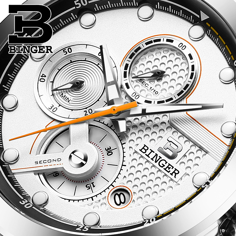 Switzerland Watches Men Luxury Top Brand BINGER New Fashion Men's Chronograph Quartz Watch Male Wristwatch relogio masculino rel